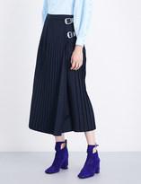Toga Ladies Navy Pleated Avant garde Wool-Blend Skirt