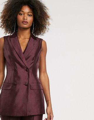 ASOS DESIGN sleeveless double breasted suit blazer in textured satin