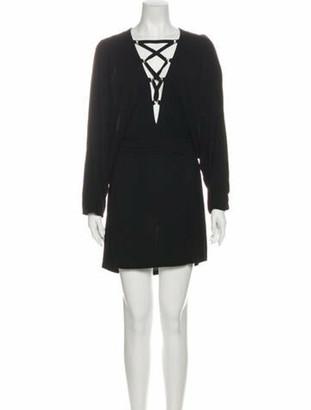 Balmain Plunge Neckline Mini Dress w/ Tags Black