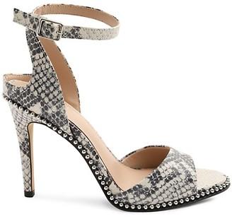 BCBGeneration Jaxina Snakeskin-Embossed Leather Sandals