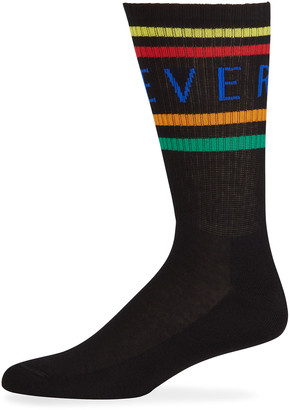 Versace Men's Multicolor Logo Stripe Socks