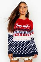boohoo Jasmine Reindeers Christmas Jumper red