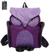 Donalworld Woen Backpack PU Leather Cool Owl School Bag Backpacks