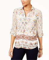 Style&Co. Style & Co Petite Mixed-Print Roll-Tab-Sleeve Shirt, Created for Macy's
