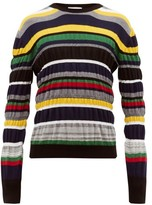 Jw Anderson - Striped Wool Sweater - Mens - Navy Multi