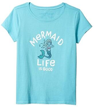 Life is Good Kids Mermaid Crusher Tee (Little Kids/Big Kids) (Coastal Blue) Girl's Clothing