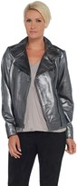 Halston H By H by Metallic Leather Motorcycle Jacket
