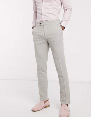 ASOS DESIGN wedding skinny suit trousers in putty wool blend twill