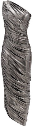 Norma Kamali Diana One-shoulder Draped Lame Dress - Silver