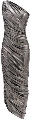 Norma Kamali Diana One-shoulder Draped Lame Dress - Silver