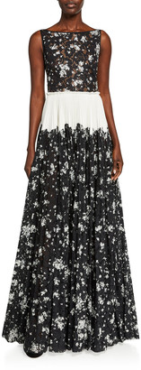 Lela Rose Floral Printed Corded Lace Tie-Shoulder Pleated Gown
