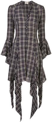 KHAITE Laura checked asymmetrical dress