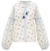 D'Ascoli Montauk Floral-print Cotton Top - Womens - Blue Multi