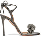 Aquazzura Monaco Crystal-embellished Metallic Leather Sandals - Gunmetal