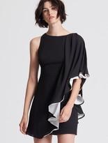 Halston Asymmetric Color Blocked Flowy Dress