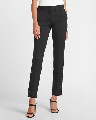 Express Mid Rise Button Hem Columnist Ankle Pant