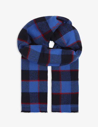 Acne Studios Cassiar checked logo wool scarf