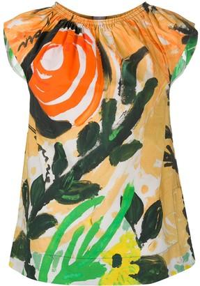 Marni Brushstroke Floral Print Top