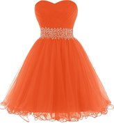 Dresstells® Short Tulle Prom Dress Bridesmaid Gown Beaded Party Dress