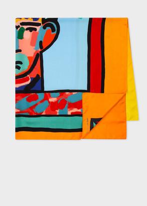 Paul Smith x John Booth - 'Head' Print Silk Scarf