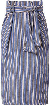 Gabriela Hearst Striped Linen Midi Pencil Skirt