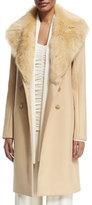 The Row Roza Shearling-Trim Long Coat, Light Beige