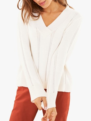 Pure Collection Cricket V-Neck Sweater, Soft White