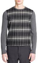 Emporio Armani Check Front Crewneck Sweater