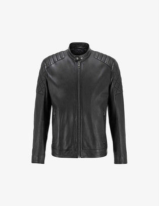 HUGO BOSS Porsche x quilted-sleeve leather biker jacket
