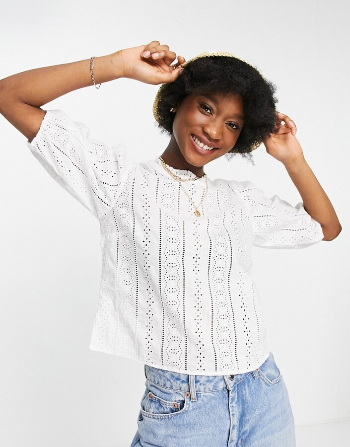 Abercrombie & Fitch puff sleeve top in white