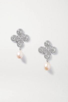 SOFT MOUNTAINS Star Rhodium-plated Freshwater Pearl Earrings - Silver