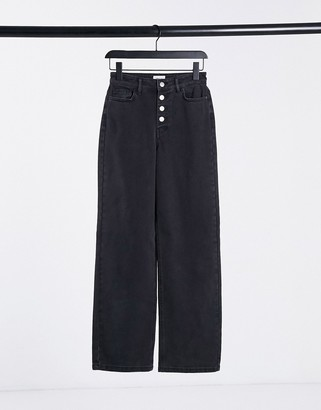 Only Molly wide leg jeans with exposed buttons in black