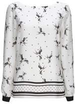 Wallis Ivory Polka Dot and Bird Print Top