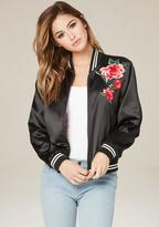 Bebe Floral Patch Bomber Jacket