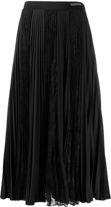 Valentino Pleated Lace Skirt