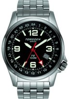 Torgoen Swiss T05201 Men's 42mm Aviation Watch with 24Hr Dual Time Zone (GMT) and Brushed Stainless Steel Bracelet