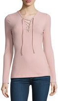 Romeo & Juliet Couture Lace-Up Ribbed Top, Pink