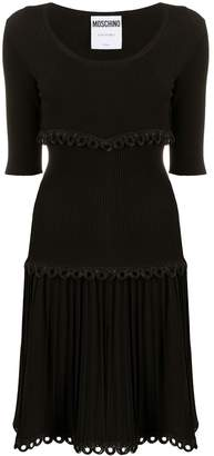 Moschino rib-knit pleated dress