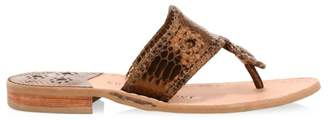 Jack Rogers Jacks Snake-Embossed Leather Thong Sandals