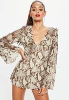 Missguided Snake Printed Playsuit