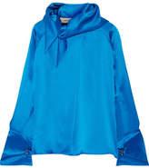 Marques Almeida Marques' Almeida - Scarf Silk-satin Blouse - Cobalt blue