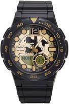 G-Shock G SHOCK Casio Mens Black and Gold Analog/Digital Dive Strap Watch AEQ100W-1AV