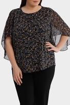 Moss Print Sheer Sleeve Jersey Top