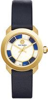 Tory Burch Women's Swiss Whitney Deco Navy Leather Strap Watch 35mm TB8005