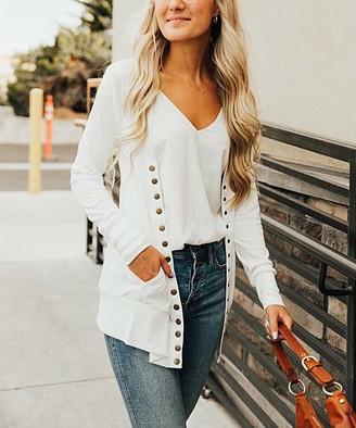 So Perla Affordable So Perla Affordable Women's Cardigans Ivory - Ivory Long Snap Pocket Cardigan - Women & Plus