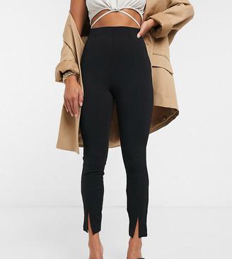 ASOS DESIGN Petite jersey slim split front suit trousers in black