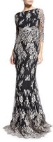 Erin Fetherston 3/4-Sleeve Embroidered Lace Gown, Black