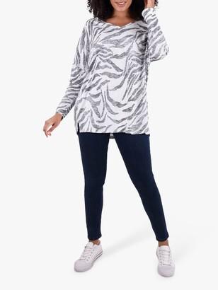 Live Unlimited Curve Zebra Print Jersey Top, Grey