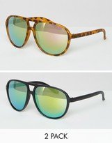 Asos 2 Pack Plastic Aviator Sunglasses With Flash Lens