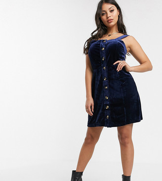 Glamorous Petite cami pinafore dress in velvet